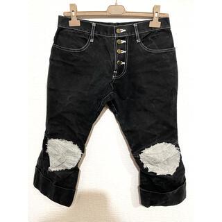 コムデギャルソン(COMME des GARCONS)のNEMETH ネメス 名作 希少 ガーゼリペア加工 立体裁断パンツ ブラック(デニム/ジーンズ)