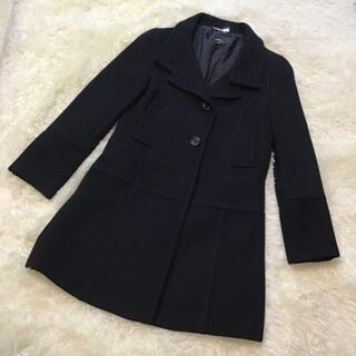 イネド(INED)の正規品 美品 INED イネド 日本製 アンゴラ61% ブラック ウールコート(ロングコート)