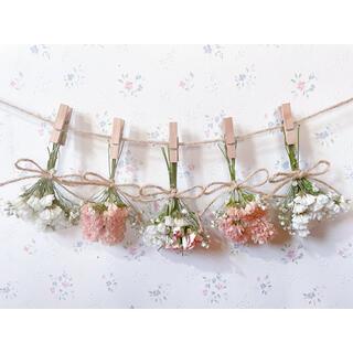 パステルサーモンピンクのバラの淡いオレンジホワイトドライフラワーガーランド♡(ドライフラワー)