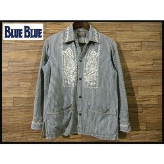 ブルーブルー(BLUE BLUE)のブルーブルー キューバ 刺繍 ヒッコリー インディゴ デニム シャツ XS(シャツ)