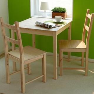 イケア(IKEA)のイケア/IKEA 木製 ダイニングチェア 2脚セット パイン材/スクエア型(ダイニングチェア)