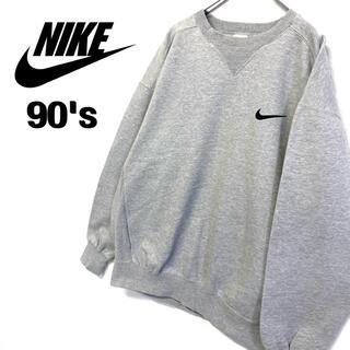 NIKE - 90's 古着 NIKE スウェット 刺繍ロゴトレーナー メンズL グレー