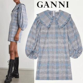 Adam et Rope' - GANNI 今期 新品 ブルーチェック シアサッカーミニドレス ワンピース