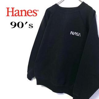 ヘインズ(Hanes)の美品 90's古着 Hanes スウェット 刺繍NASA トレーナー メンズM(スウェット)