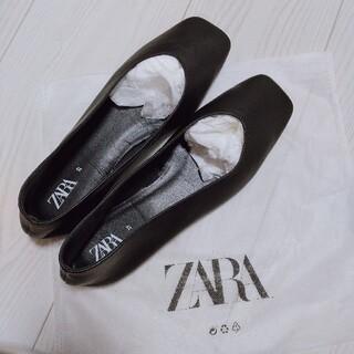 ZARA - ★大人気★完売品★ZARA スクエアトゥレザーバレリーナシューズ 37