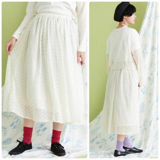bulle de savon - 2019SS bulle de savon チュール花刺繍スカート