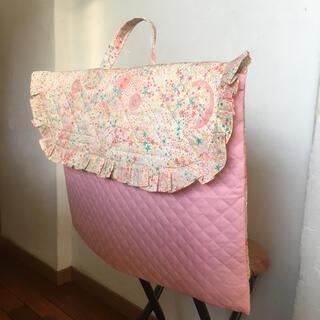 かわいいフリル♡防災頭巾カバー リバティ アデラジャ ピンクオレンジ名前タグ付き(外出用品)