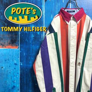 TOMMY HILFIGER - 【トミーヒルフィガー】オールド刺繍ロゴボールドマルチストライプシャツ 90s