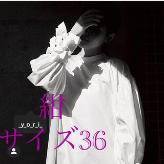 yori 【shirocon】カフスリボンブラウス 紺色 サイズ36