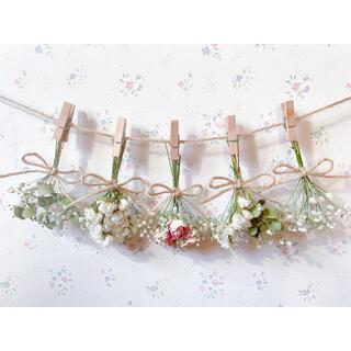 パステルサーモンピンクのバラとかすみ草とユーカリのドライフラワーガーランド♡(ドライフラワー)