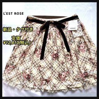 レストローズ(L'EST ROSE)の《新品》L'EST ROSEレストローズ 花柄フェミニンベロアスカート(ひざ丈スカート)