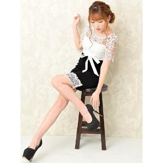 dazzy store - 【dazzystore】デコルテレース タイト リボン ミニ ドレス