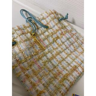 シャルマントサック ツイード モール パステル 巾着 バッグ 美品