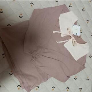 petit main - 新品 テータテート ピンク白襟トップス 120