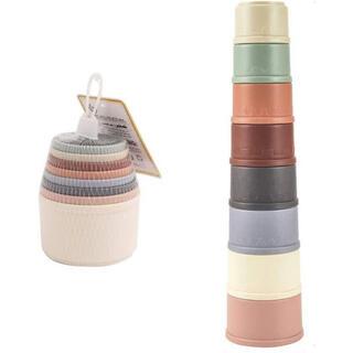 スタッキングカップ スタッキングトイ くすみカラー 積み重ねカップ 知育玩具