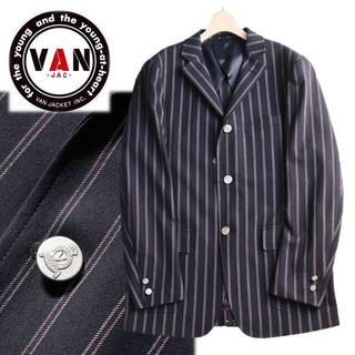 ヴァンヂャケット(VAN Jacket)の《ヴァンヂャケット》新品 銀ボタン アイビーストライプ 3Bジャケット 紺 L(テーラードジャケット)