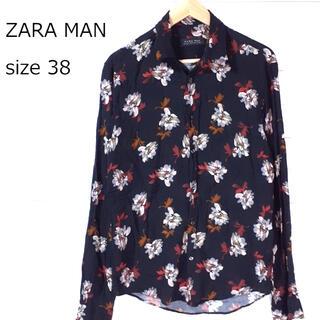 ZARA - 【used品】ZARA MAN メンズ 長袖シャツ 花柄  厚手 サイズ38