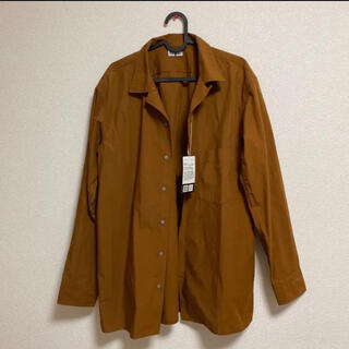 UNIQLO - UNIQLO ユニクロユー オープンカラーシャツ ブラウン