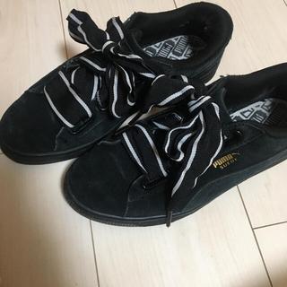 PUMA - スニーカー 靴 プーマ PUMA 24.0 レディース りぼん 黒 ブラック