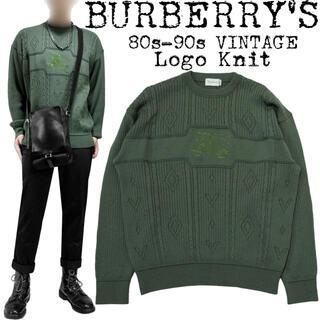 BURBERRY - ★美品★BURBERRY★バーバリー★80s★ロゴ 刺繍 ニット★カーキ★緑★M
