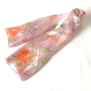 ロキエ(Lochie)の古着 パステルカラー シースルー 花柄 きれいめ 長方形 スカーフ 14(バンダナ/スカーフ)
