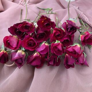 ミニ薔薇(茎長め)ドライフラワー★15輪セット+おまけ1輪付き★花材 素材★(ドライフラワー)