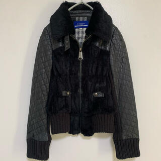 BURBERRY BLUE LABEL - BURBERRY BLUE LABEL  定価15万  ラムレザー切替ジャケット