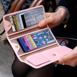 【ピンク】大収納 カード 札入れ PUレザー