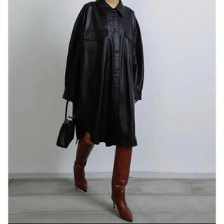 LE CIEL BLEU - Faux Leather Shirt COAT