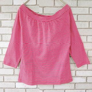 シーケーカルバンクライン(ck Calvin Klein)のck カルバンクライン M トップス ピンク レッド ボーダー ストライプ(Tシャツ(長袖/七分))