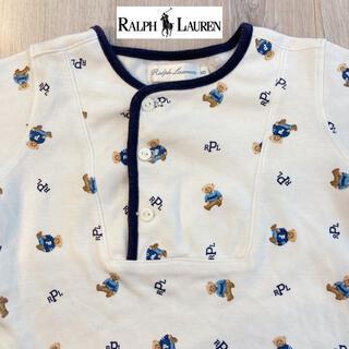 Ralph Lauren - ラルフローレン❤️帽子付き ポロベア 総柄 ロンパース カバーオール 80