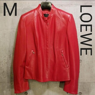 ロエベ(LOEWE)のロエベ LOEWE シングルライダースジャケット 羊革/本革 赤 M(ライダースジャケット)