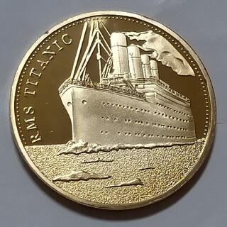 タイタニック号記念、ゴールドメダル。限定販売品。直径40ミリ(彫刻/オブジェ)