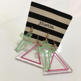 ジュエティ(jouetie)の両方 新品未使用 クロス 三角 ロック クリア 透明(ピアス)