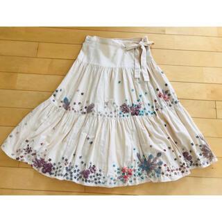 刺繍 ロング巻スカート リボン 毛糸花(ひざ丈スカート)