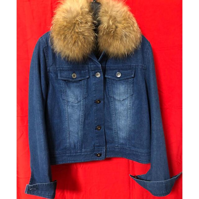 ファー付きデニムジャケット レディースのジャケット/アウター(Gジャン/デニムジャケット)の商品写真