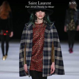 サンローラン(Saint Laurent)の(再出品)SAINT LAURENT2014年エディ期紺緑チェックポンチョF34(ポンチョ)