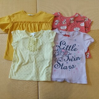 半袖Tシャツ カットソー4枚セット 110センチ 女の子用 (Tシャツ/カットソー)