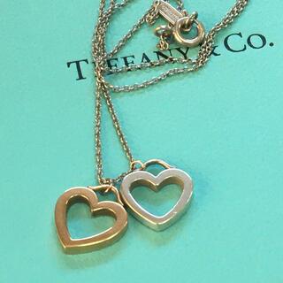 ティファニー(Tiffany & Co.)の美品希少★ティファニー K18PG/925 ダブルハート ネックレス(ネックレス)