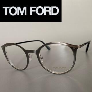 TOM FORD - トムフォード シルバー メタル ブラック メガネ ラウンド ボストン フルリム