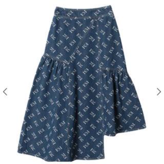 eimy istoire - エイミーイストワールアシンメトリーデニムフレアスカート☆デニム ロゴスカート