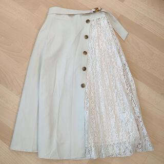 GRL - ベルト付きフラワーレースプリーツ切り替えスカート