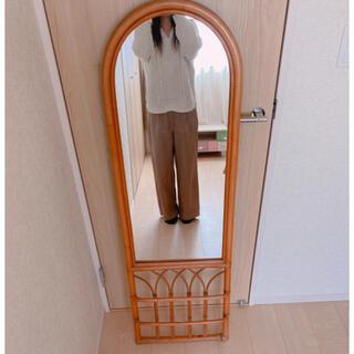 アクタス(ACTUS)のラタン 籐 壁掛け 全身鏡 インテリア アンティーク レア ヴィンテージ(壁掛けミラー)