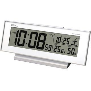 セイコー(SEIKO)のセイコー クロック 目覚まし時計 常時点灯 電波 デジタル カレンダー 温度湿度(置時計)