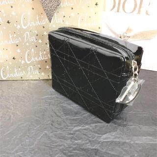 Dior - ディオール ノベルティ Dチャーム ミラー付き エナメル ポーチ ブラック