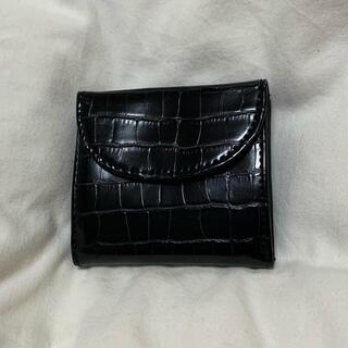 ジーユー(GU)の型押しクロコダイル柄 ミニ財布 ブラック クロコダイルミニウォレット(財布)