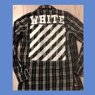 オフホワイト(OFF-WHITE)の本物 off-white 背ロゴ チェックシャツ スウェット tシャツ 新作(シャツ)