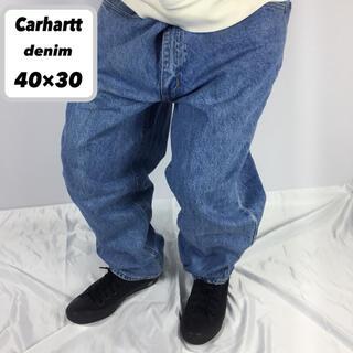 carhartt - 古着 Carhartt カーハート デニム パンツ インディゴ 革パッチ ロゴ