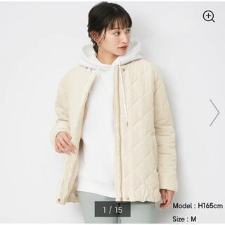 ジーユー(GU)のGU キルティングジャケット ホワイト Lサイズ(ダウンジャケット)