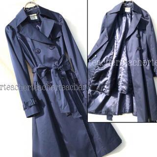 ANAYI - 中綿 キルティングライナー付き ロングトレンチコート ネイビー リボンベルト 紺